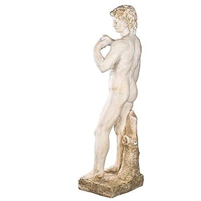 Wetterfeste Riesige schwere (14kg) Statue 108 cm hoch SYL-A 14014L- Michelangelos David, Gartenfigur, Dekofigur, Statue, Mythologie, Figur, Büsten, Dekorationsfigur für Innen und Außen, Polyresin , Gartendekoration, Gartenfigur, Skulptur in ANTIKBEIGE