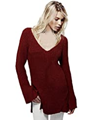 Pull Femme Pulls à manches longues en maille lâche sexy V profond dos nu chandails Jumper Tops Tricots