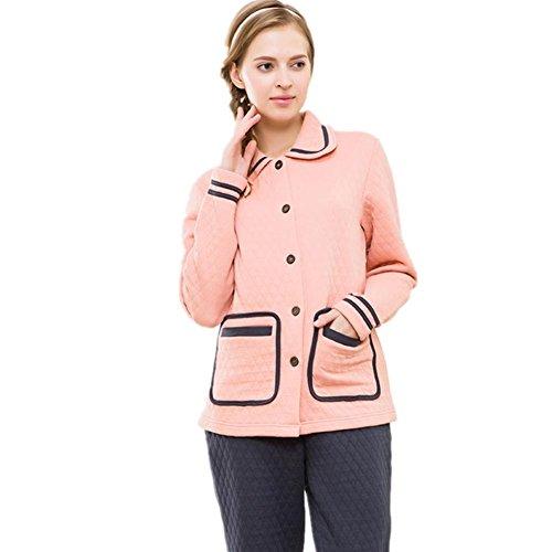 DMMSS Ladies collo quadrato laminato cotone tessuto pigiama Set ,