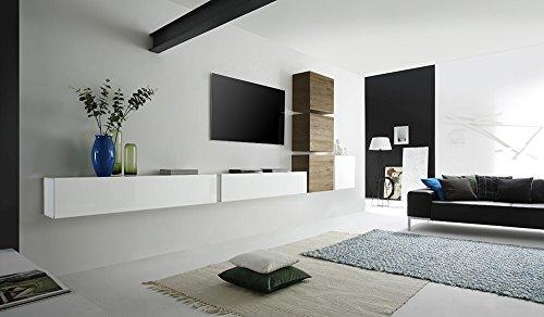 Sodani parete attrezzata mobili salotto 6 mobili sospesi 159x401x31cm cube bianco lucido e miele