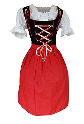 Di20rs Midi Dirndl, 3 teiliges Trachtenkleid in rot schwarz, Kleid