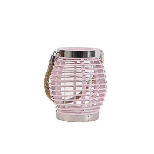 KMYX Traditionelle Laternen-amerikanische rustikale hölzerne Rattan-dekorative Kerzen-Laternen Weiden-Schnur-tragbare Laternen-Licht-kreative weiche Dekorationen, die Zubehör-Kerzenständer-Geschenk-Kerzenständer heiraten ( Color : Pink )