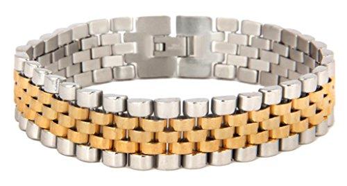 Die Jewelbox 316L chirurgischer Edelstahl 22K Gold Rhodium Herren Armband (22k Gold Herren Armband)