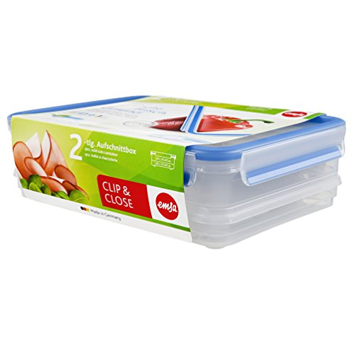 Emsa 508557 Aufschnittbox-System mit Deckel, 1.65/1 Liter, Transparent/Blau, Clip & Close
