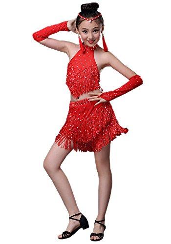 Ballroom Kostüm Tango - XFentech Mädchen Pailletten Quaste Latin Ballroom Dance Dress Rock Tango Tanz Performance Kostüm, Rot, EU 140=Tag150CM