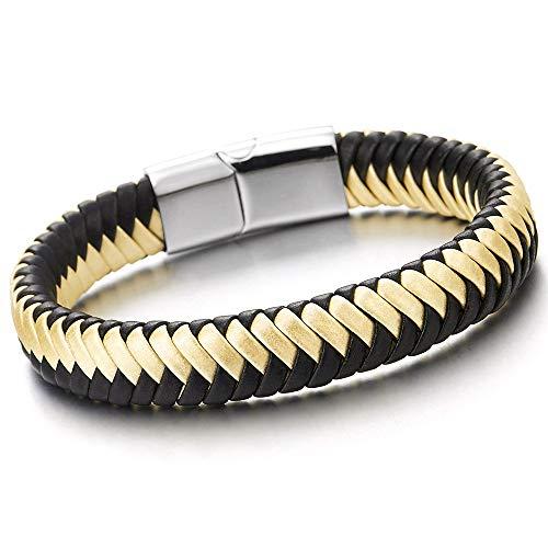 iMECTALII Unisex Herren Damen Gold Schwarz Geflochtenes Leder-Armband, Leder Armreif Schweißband mit Edelstahl Magnetverschluss