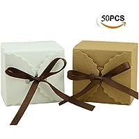 Mengger Cajas de Regalo Papel de estraza, Papel de estraza Regalo Caja Regalos Cajas Cajas Cartón (Paquete de Regalo Caja de Bombones para Navidad Boda Fiesta Cupcake 50Unidades Cajas de Regalo
