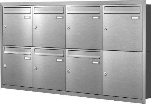 Max Knobloch Unterputz-Briefkastenanlage Express Box UP70-110-E Edelstahl (7 x 12 Liter)