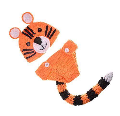 ENCOCO Fotografie Requisite Baby-Kostüm, niedliches Tiger, gehäkelt, Strickmütze für Mädchen und Jungen