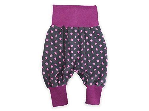 Pumphose Mitwachshose grau, 'Sterne' pink Haremhose Jerseyhose von Kleine Könige Größe 86/92, Farbe beere