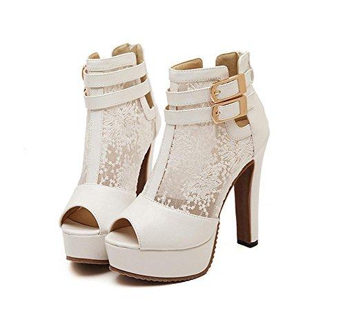 YMXJB Mode mesh sandales ultra haut talon chaussures femme White