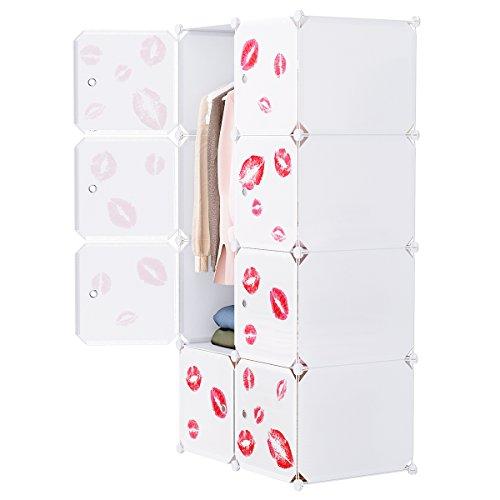 Langria 8-cube armadio modulare per l'immagazzinamento di oggetti di grandi dimensioni armadio con stendibiancheria e adesivi per arredamento, mobili per calzature (bianco latte)