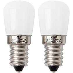 Ampoule frigo led E14 2W ZSZT Blanc Froid 6000K, 15 watts équivalent petit Edison à vis, Pour réfrigérateur Sewing Machine - Lot de 2