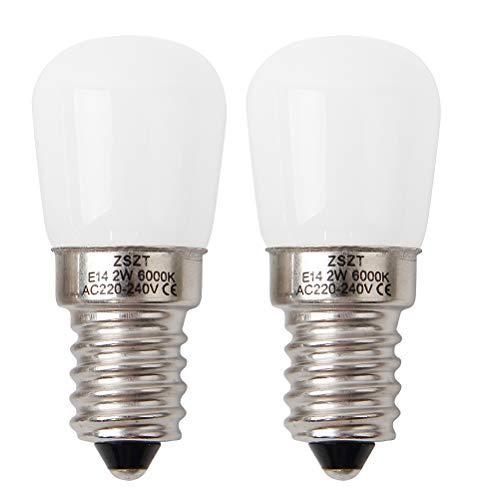Lampadine da frigorifero led e14 2w zszt (15w alogena lampadina equivalente) bianco fredda 6000k, per mappamondo, macchina da cucire, confezione da 2 unità