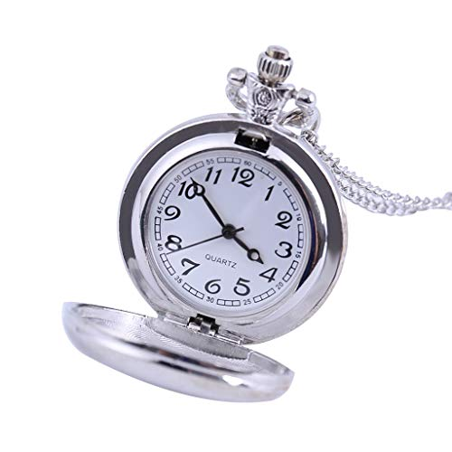 Clara  Featured Couple Pocket Watch Silver Groove Versatile Clothing Chain Pocket Watch -