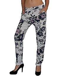 S&LU angesagte Damen Baggy Pants/ Pluderhosen/Jogginghose mit tollem Blumenmuster S - XL