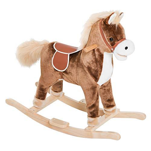 Cheval à Bascule Cheval de Cowboy Selle Grand Confort Peluche Courte Douce Bois peuplier Marron