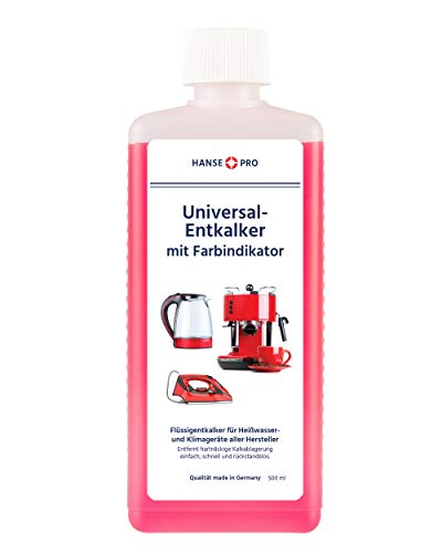 Hansepro Entkalker mit Farbindikator,500 ml I Flüssig-Entkalker I Universal-Entkalker I Kalklöser...