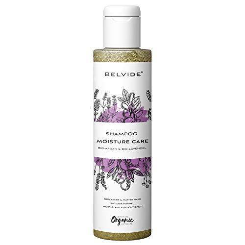 BELVIDE® Feuchtigkeits Shampoo mit Bio Arganöl und Bio Lavendel · ohne Silikon, Sulfate und Parabene · natürlicher Glanz und Geschmeidigkeit · tierversuchsfrei und vegan · 200 ml