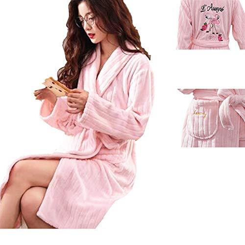 Sweetheart -LMM Flamingo Fleece-Bademantel Kigurumi Pyjama voller Länge luxuriöser Stickerei Tierkostüm für Damen und Mädchen Übergröße, Rose, Large