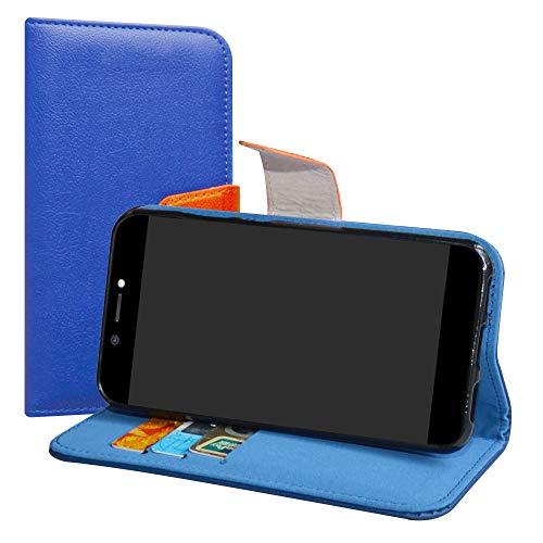 LiuShan Archos Core 50 Hülle, Brieftasche Handyhülle Schutzhülle PU Leder mit Kartenfächer & Standfunktion für Archos Core 50 Smartphone (mit 4in1 Geschenk verpackt),Deep Blau