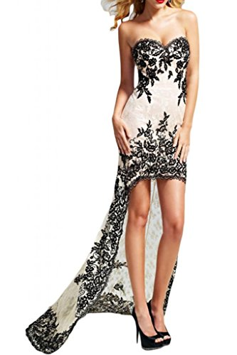 TOSKANA BRAUT Glamour Herzform Hi-Lo Abendkleider Lang con partito Prom Lace hard ball Gowns Nero