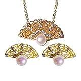 ALHM Abanico Antiguo Juego De Joyas Moda S925 Plata Natural Collar De Perlas De Agua Dulce Pendientes,Gold-onesize