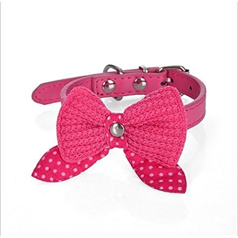 Vale® Del Bowknot ajustable cuero de la PU del perro de perrito del animal doméstico del gato collares del cuello del collar del cordón