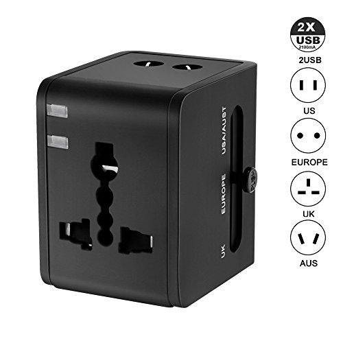 FULLBELL International Universal All in One Worldwide Travel Adapter Wall Charger AC Power Plug Adapter with UK EU AU US Dual USB Charging Ports for USA EU UK AUS European Cell Phone Laptop (Black)