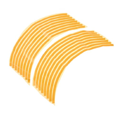 "sourcingmap® 13"" Length Motorcycle Vehicle Wheel Decals Rim Tape Stickers Strip Yellow 16 Pcs"