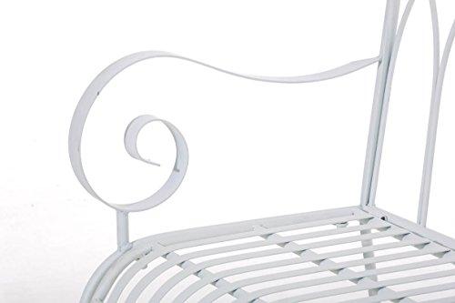 CLP Gartenbank DIVAN im Landhausstil, aus lackiertem Eisen, 106 x 51 cm – aus bis zu 6 Farben wählen Weiß - 8