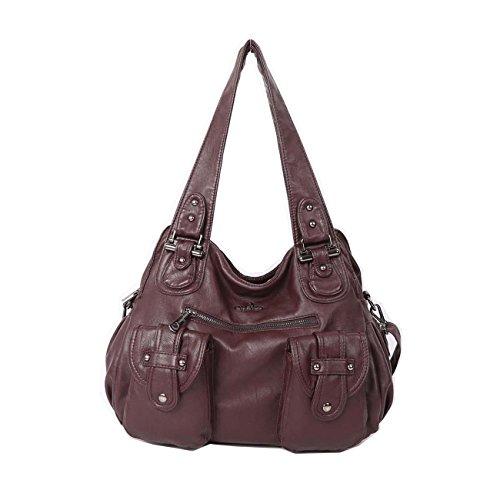 Angelkiss 2 zip più alte tasche borse donna / tasche in lana lavata / borse a tracolla XS160737 Caffè