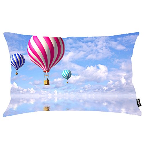 i FaMuRay Decorativa per Cuscino (Insert & Cover), Globo Balloon King Size 20x36