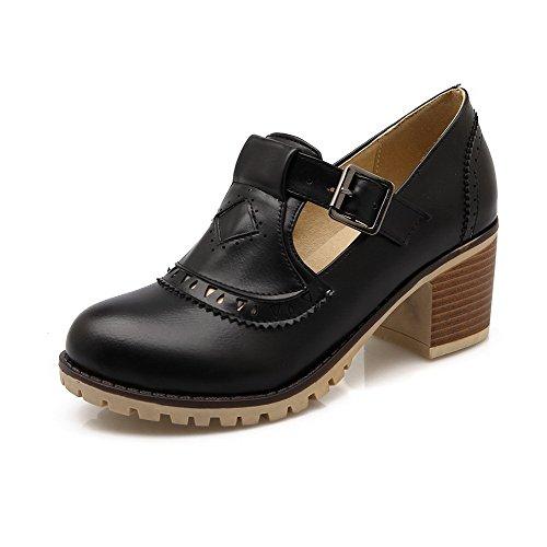 VogueZone009 Femme Matière Souple à Talon Correct Boucle Couleur Unie Chaussures Légeres Noir