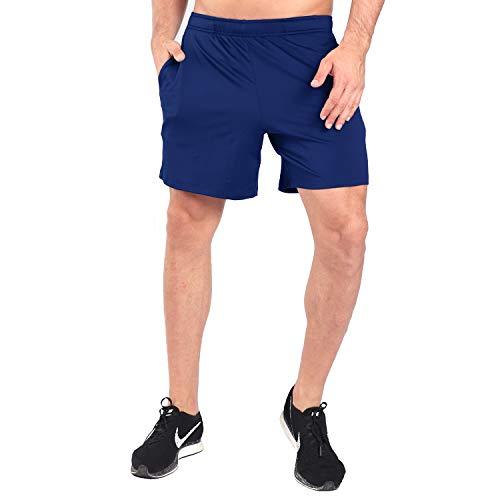 Polyester-kurze Tasche (Ogeenier - 7'' Sporthose Herren Kurz mit Zwei Taschen,Atmungsaktive Schnell Trocknende Laufhose Kurze Sweatshorts für das Training, Joggen, Laufen, Radfahren,Navy Blue,M,Navy Blue,M)