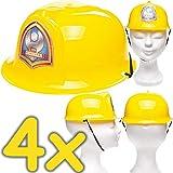 Neu: 4 x Baustellen-Helme für Kinder   Verkleidung zum Bauarbeiter Kindergeburtstag, Fasching und Mottoparty   Jedes Bauarbeiter-Kind liebt Diese Baustellenhelme!