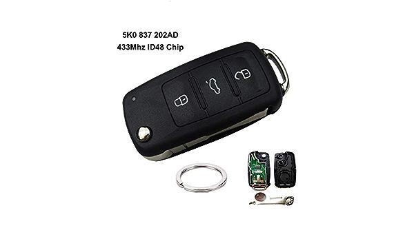 Nbvnbv Flip Schlüssel 5k0837202ad Fernbedienung Auto Schlüssel Haa 31 Hu66 Für Vw Polo Limousine Golf 6 Passat B6 Volkswagen Touran Bora Sport Freizeit