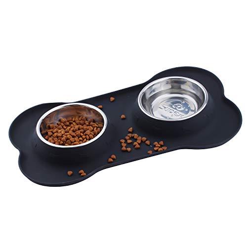SuperDesign Doppelnapf mit hochwertiger und Rutschfester Silikonmatte in Knochenform, geeignet für kleine Hunde oder Katzen, spülmaschinenfest und Rutschfest,MEHRWEG Verpackung