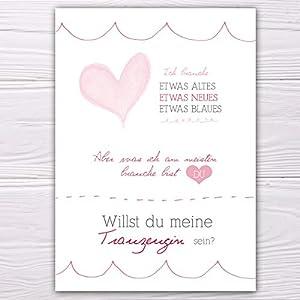 """A6 Postkarte """"Willst du meine Brautjungfer sein?"""" in weiß/rosa Glanzoptik Papierstärke 235 g / m2 Geschenk für Schwester…"""
