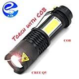 Praish Mini Led Torch 7W 2000Lm Cree Led Flashlight Adjustable Focus Zoom Flash
