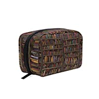 Makeup Bag Library Books Wall Cosmetic Pouch Clutch