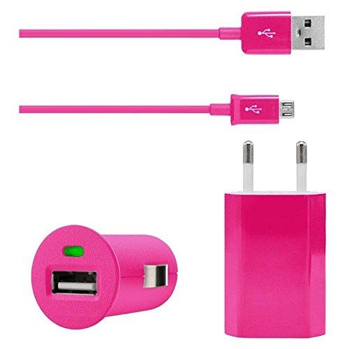 Original Lanboo® 3in1 KFZ Auto Lade Set - Pink - mit microUSB Ladekabel Datenkabel + 220V Netzteil + KFZ Adapter Ladegerät für ZTE Blade L3
