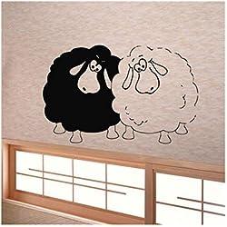 jqpwan Stickers muraux vinyle autocollant autocollant Art Kids Room Decor animaux deux drôles moutons 55 * 88 cm
