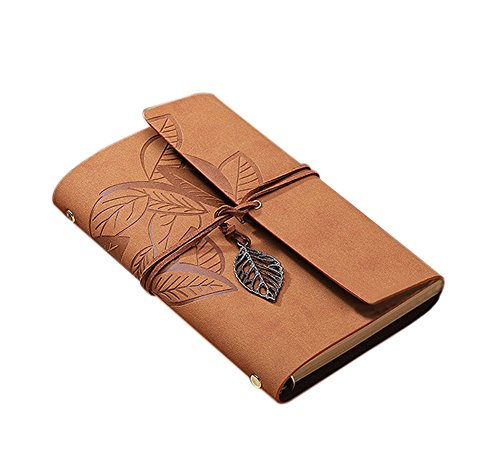 cosanter Einband Vintage Notebook 160Seite Loose Leaf Khaki Leder Cover Travel Journal für Geschenk