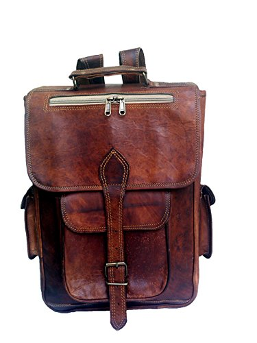 "jaald 15"" Unisex Genuine Leather Briefcase Backpack College,school Picnic Travel Bag"