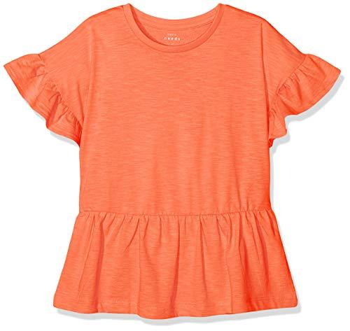 NAME IT Mädchen NKFVILONA SS TOP H T-Shirt, Orange (Emberglow), 158 (Herstellergröße: 158-164)