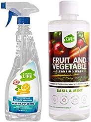 Natural Life Kitchen Sanitisation Kit | Disinfectant Surface Sanitizer 500 Ml & Fruit and Vegetable Washin