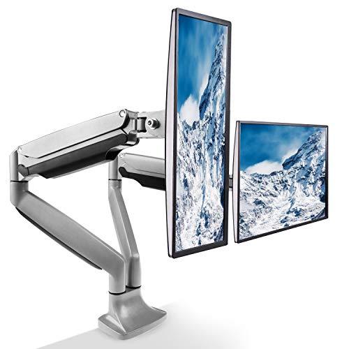 HUANUO Monitor Tischhalterung, Schwenkbare Neigbare Monitor Halterung mit Gasdruckfeder Arm für Bildschirm von 13 bis 27 Zoll mit VESA 100x100, 75X75mm, Max. Tragfähigkeit 6,5 kg (Silber)
