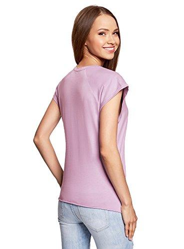 oodji Ultra Donna T-Shirt in Cotone con Stampa Senza Etichetta con Orlo Grezzo Viola (8019P)