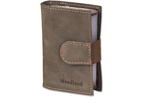 Woodland® XXL-Kreditkartenetui mit Platz für insgesamt 18 Kreditkarten, aus weichem naturbelassenem Büffelleder in Dunkelbraun/Taupe, Dunkelbraun -